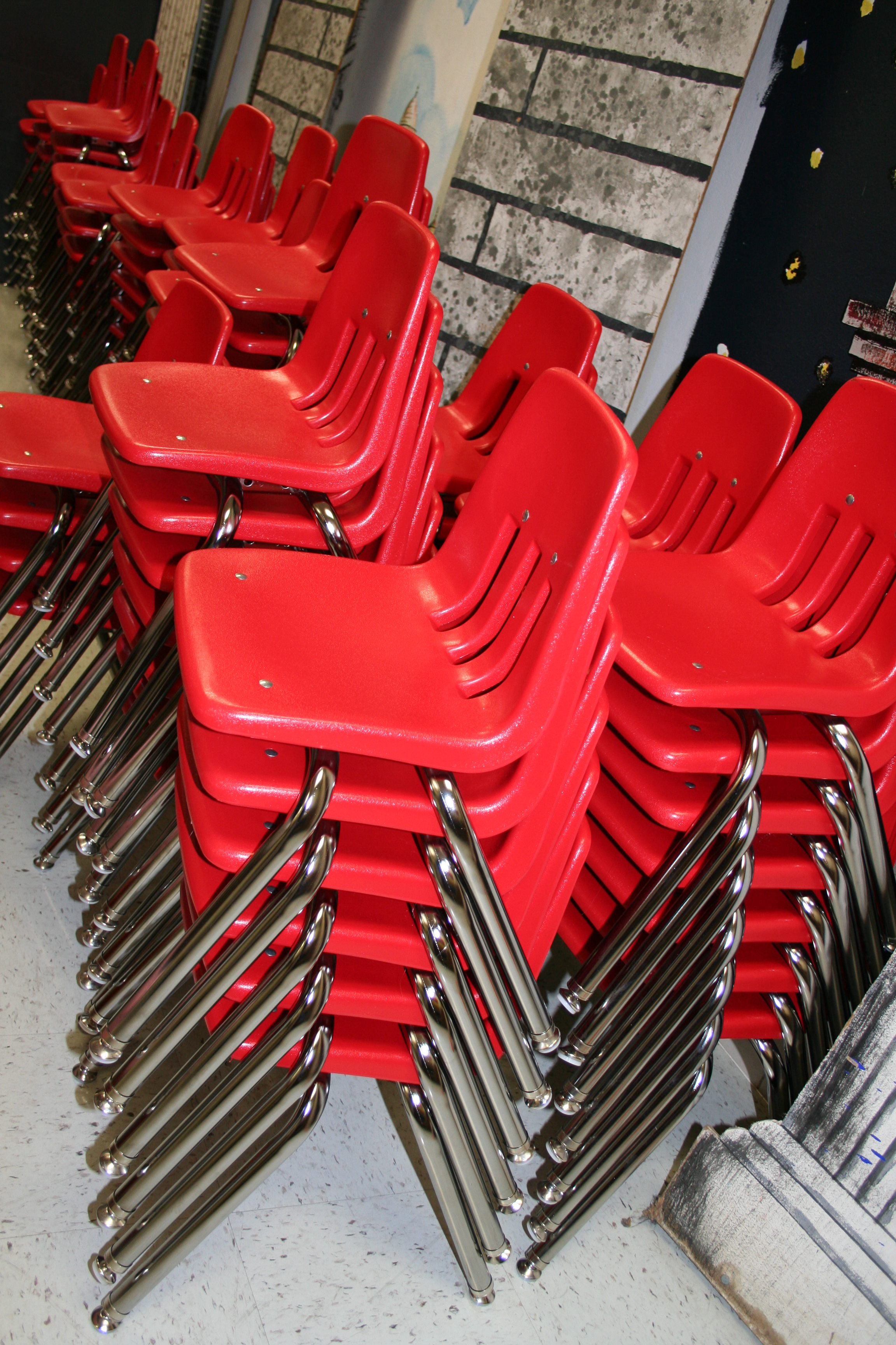 Classroom chairs stacked - Standard Issue Classroom Chairs