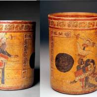 Cylinder vessel with ritual ball game scene, Guatamala, c. 700-850 A.D., Gift of Patsy R. and Raymond D. Nasher