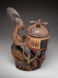 Kneeling female figure with bowl (olumeye), Olowe of Ise, Yoruba peoples, c. 1910 to c. 1918, Dallas Museum of Art, The Eugene and Margaret McDermott Art Fund, Inc.