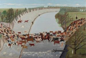 Clara McDonald Williamson, Get Along Little Dogies, 1945, Dallas Museum of Art, Ted Dealey Purchase Prize, Seventeenth Annual Dallas Allied Arts Exhibition.