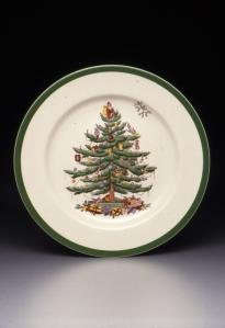Harold Holdway (designer), Regimental Oak shape dinner plate with Christmas Tree pattern, designed 1938, Dallas Museum of Art, gift of Stephen Harrison in honor of George Roland.