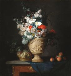 Anne Vallayer-Coster, Bouqet of Flowers in a Terracotta Vase with Peaches and Grapes, 1776, Dallas Museum of Art, Foundation for the Arts Collection, Mrs. John B. O'Hara Fund and gift of Michael L. Rosenberg