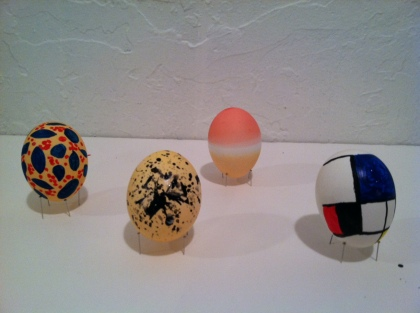 Artful eggs. L-R: Henri Matisse, Ivy Flower; Jackson Pollock, Cathedral; Mark Rothko, Untitled; Piet Mondrian, Composition with Large Blue Plane, Red, Black, Yellow, and Gray