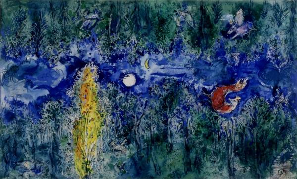 """Marc Chagall, Model for the curtain in the first act of """"The Firebird"""" by Stravinsky: The Enchanted Forest (Maquette pour le rideau de scène du 1er acte de """"L'Oiseau de feau"""" de Stravisky: La forêt enchantée), 1945, Private collection, Paris"""