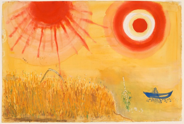 Marc Chagall, A Wheatfield on a Summer's Afternoon, Study for backdrop for Scene III of the ballet Aleko, 1942, Acquired through the Lillie P. Bliss Bequest