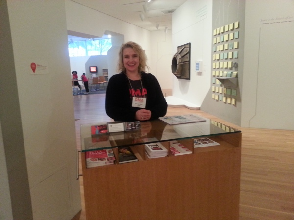 Georgia, a C3 Volunteer, greets visitors as they enter the Center for Creative Connections.