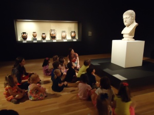 Talking about objects from the Body Beautiful exhibition in Once Upon a Time camp