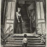 This lithograph articulates the foreboding feeling the first day of school brings. The staircase leads to utter darkness, where anything might await, while the stern face of the mistress offers no comfort or tenderness. By answering the door with switch in hand, she becomes the disciplinarian rather than the nurturer, and clearly shows the consequences for misbehavior.