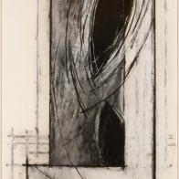 While the shapes and patterns in this drawing suggest natural forms, they have a schematic feeling that is reminiscent of scientific and mathematical diagrams. The dark centers of the almond shapes recess like black holes, and the curved lines emanating from them resemble waves of energy. Larry Brown's work is influenced by the worlds of science and nature, particularly those fields that seek to map and understand space.