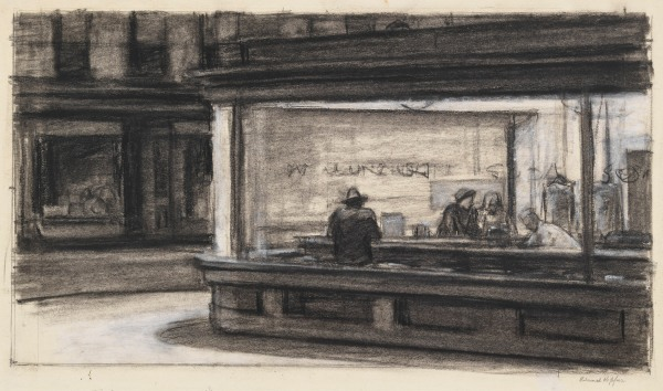 Edward Hopper, Study for Nighthawks, 1942, Whitney Museum of American Art, copyright Heirs of Josephine N. Hopper, licensed by the Whitney Museum of American Art. Digital Image, copyright Whitney Museum of American Art, NY