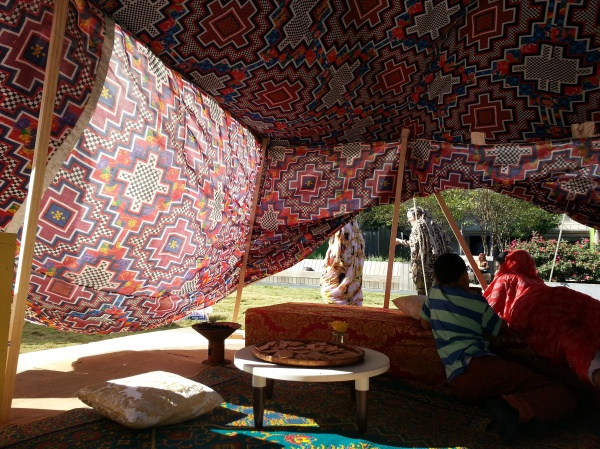 The tent was constructed with beautiful traditional fabric.