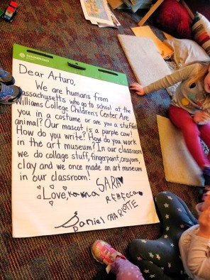 Arturo's Magical Mail exchange with preschool students in Western MA