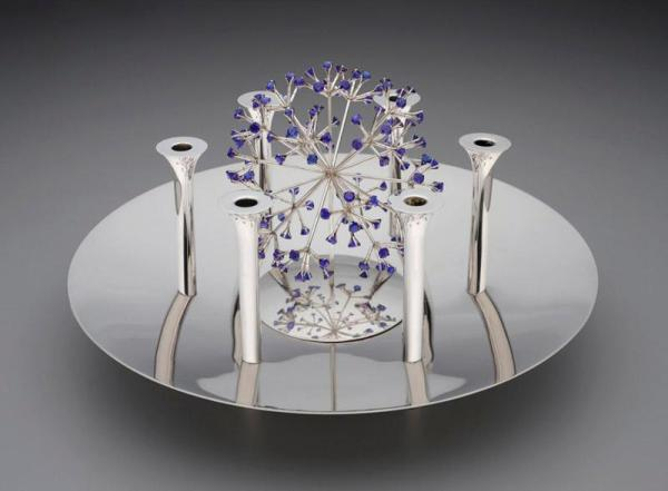 Celestial Centerpiece, Robert J. King, 1964, Silver and spinel sapphires, Dallas Museum of Art, The Jewel Stern American Silver Collection, acquired through the Patsy Lacy Griffith Collection, gift of Patsy Lacy Griffith by exchange and gift of Jewel Stern in honor of Kevin W. Tucker