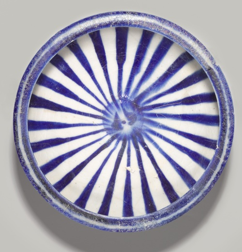Blue and White Bowl with Radial Design, 13th Century , Iran, Kashan, fritware, painted in cobalt blue under transparent glaze, Brooklyn Museum, Gift of Mr. and Mrs. Thomas S. Brush, Brooklyn, USA