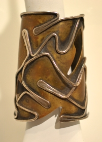 """""""Baker"""" Bracelet, circa 1959, Art Smith, Brass and silver, Lent from the collection of Deedie P. Rose"""