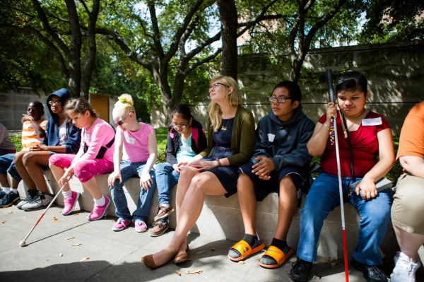 DISD students with vision impairments visiting the DMA.