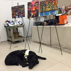 John's guide dog Echo waiting patiently by his paintings