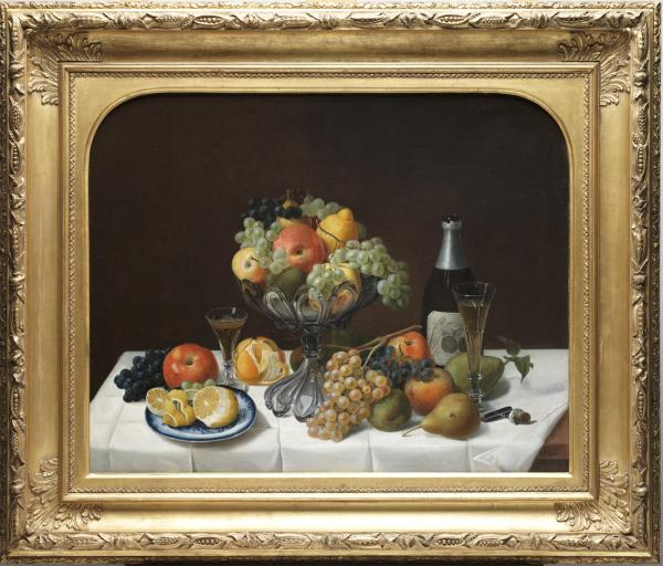 Severin Roesen, Fruit Still Life with Champagne, 1848, Dallas Museum of Art, gift of the Pauline Allen Gill Foundation