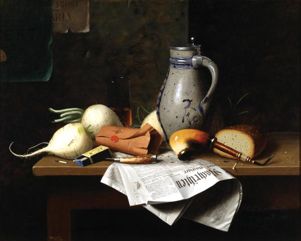 William Michael Harnett, Munich Still Life, 1882, Dallas Museum of Art, Dallas Art Association Purchase