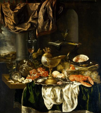 Abraham Hendricksz Van Beyeren, Still Life with Landscape, 1650s, Dallas Museum of Art, The Karl and Esther Hoblitzelle Collection, gift of the Hoblitzelle Foundation