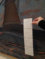 On one of the days, students appropriated one of Mondrian's paintings by focusing on the windmill and responding with a four step drawing, from figurative to abstract.