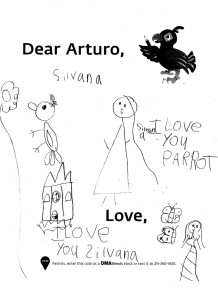 """I love you parrot. Love, Silvana"""