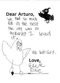 """We had so much fun in the nest the art was so inspiering I loved it. You look Gart. Love, Ellie"""