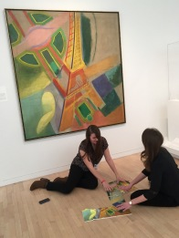 McDermott Interns exploring Robert Delaunay's Eiffel Tower (1924, Dallas Museum of Art, gift of the Meadows Foundation, Incorporated, 1981.105)
