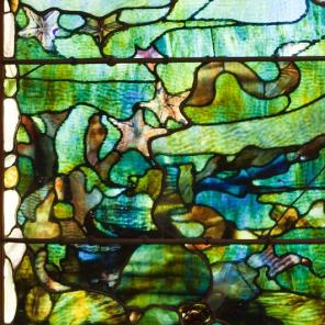 """Louis Comfort Tiffany, Window with Starfish (""""Spring""""), c. 1885-1895, Dallas Museum of Art, The Eugene and Margaret McDermott Fund, Inc."""
