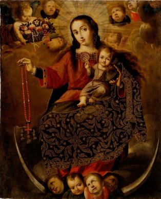 Melchor Pérez Holguín, Virgin of the Rosary, Late 17th-Early 18th century, Dallas Museum of Art, gift of Mary de la Garza-Hanna and Virginia de la Garza and an anonymous donor.