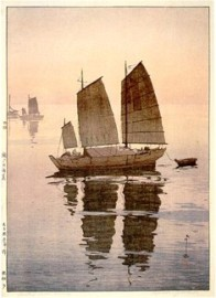 Hiroshi Yoshida, Sailboats: Evening (Hansen, Yu), from the series Inland Sea, 1926, Museum of Fine Arts, Boston, Chinese and Japanese Special Fund.