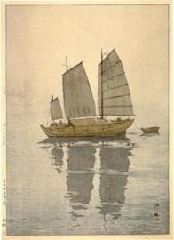 Hiroshi Yoshida, Sailboats: Fog (Hansen, Kiri), from the series Inland Sea, 1926, Museum of Fine Arts, Boston, Chinese and Japanese Special Fund.