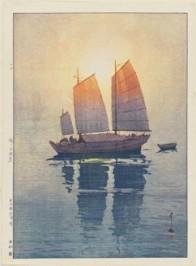 Hiroshi Yoshida, Sailboats: Morning (Hansen, asa), from the series Inland Sea, 1926, Museum of Fine Arts, Boston, Chinese and Japanese Special Fund.