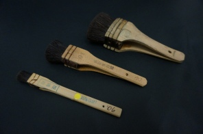 Surikomi bake: inking brushes used to put colored ink on the carved wood blocks.