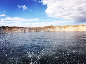Water splashing on Lake Powell, Arizona