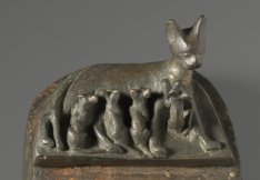 Cat with Kittens, ca. 664-30 B.C.E. or later, bronze, wood, Brooklyn Museum. Charles Edwin Wilbour Fund, 37.406E, Divine Felines: Cats of Ancient Egypt is organized by the Brooklyn Museum