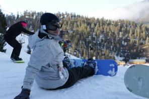 Briana goes snowboarding