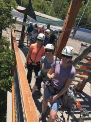 Leah and her sisters about to do a ropes course at the Olympic Park in Park City, Utah.