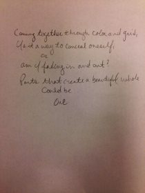 Collaborative poem inspired by Jim Dine.