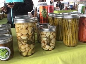 Homemade pickled garlic