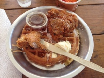Fried-chicken and coconut waffles