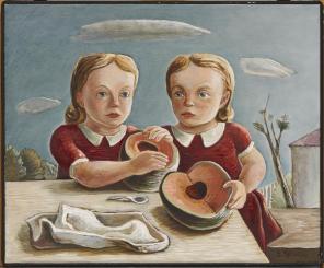 Everett Spruce, Twins, 1939-1940, Oil on canvas, Dealey Prize, Eleventh Annual Dallas Allied Arts Exhibiton
