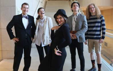 The cast of the Reves Murder Mystery, from left to right: Winston Churchill, Salvador Dali, Coco Chanel, Igor Stravinsky, and Pablo Picasso were all in attendance.